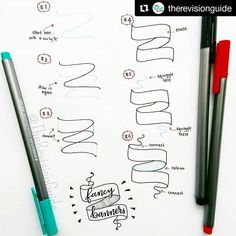 how to draw fancy banners for your bullet journal or planner Doodles, Doodle Lettering, Sketch Notes, Doodle Drawings, Bullet Journal Inspiration, Journal Ideas, Drawing Tips, How To Draw Hands, Letters