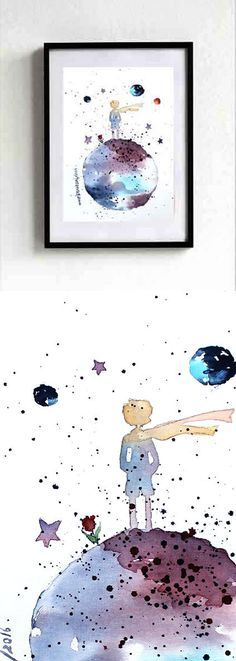 new -The LITTLE PRINCE #1 - ORIGINAL Watercolor Le Petit Prince Painting Gift Decor Kids Room Art Wall Decor Home by EmelArt on Etsy