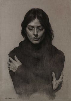 Eran Webber, female portrait and torso charcoal and chalk drawing, 2013, FAA sculptor and instructor. Beautiful rendering.
