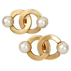 Early CHANEL  Earrings   From a unique collection of vintage clip-on earrings at http://www.1stdibs.com/jewelry/earrings/clip-on-earrings/