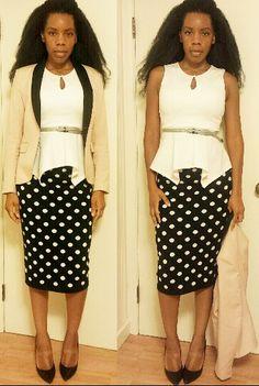 Blazer, Peplum Top, Pencil Skirt