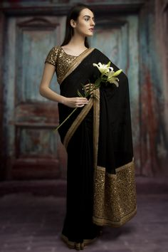 Buy online Sarees - Black color designer georgette embroidery saree in india from Bollywood Kart Net Saree Designs, Saree Blouse Designs, Salwar Designs, Trendy Sarees, Stylish Sarees, Blouse Back Neck Designs, Indian Dresses, Indian Outfits, Indian Clothes