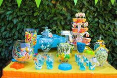 Colorful Beach Birthday Party dessert buffet table