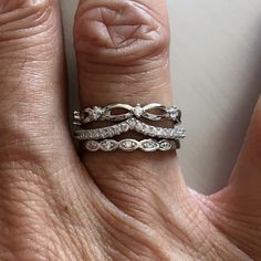 Sterling Silver Chevron Eternity CZ Ring