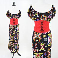 vintage ethnic KILIM southwestern CORSET waist dress size L XL by PasseNouveauVintage, $26.00