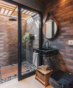 Brick Bathroom, Cozy Bathroom, Bathroom Goals, Bathroom Ideas, Light Bathroom, Bathroom Shelves, Bathroom Organization, Bathroom Furniture, Small Bathroom