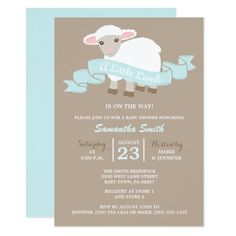 Sweet Little Lamb Boy Baby Shower Invitations Trendy Light Blue And Tan Design