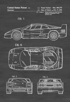 Ferrari F40 Patent - Patent Print, Wall Decor, Automobile Decor, Automobile Art, Classic Car, Ferrari Patent by publiclens on Etsy