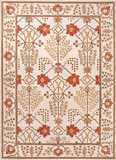 Poeme Ivory Red Arts And Craft Rug