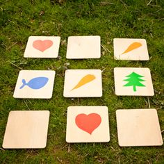 oversized memory game on wooden cards Youth Games, Games For Kids, Fun Outdoor Games, Outdoor Activities, Field Day Games, Kindergarten Party, Garden Games, Lawn Games, Outdoor Playground