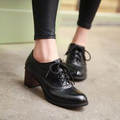 Brogue Womens Oxford Lace Up Wing Tip Retro Mid Chunky Heel Slip On Shoes Black