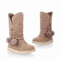 Carol Shoes Cute Women's Dual-purpose Pom-poms Faux Fur Snaps Fashion Winter Use Flat Snow Boots ** Click on the image for additional details.