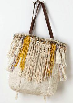 Fringe thread bag   Tote shopper strands   Knots