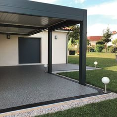 Marbreline stone carpet terrace Whilst historical throughout strategy, the actual pergola have been suffering from Garden Ideas Driveway, Driveway Design, Patio Design, Backyard Landscaping, Patio Resurfacing Ideas, Modern Driveway, Resin Patio, Porch Veranda, Porch Steps