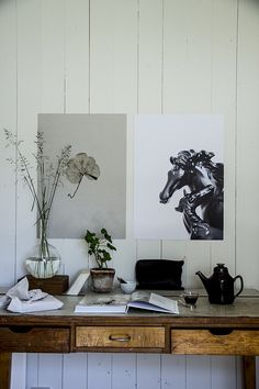 rustic wooden table #desk #home #office #work #place #horses #art