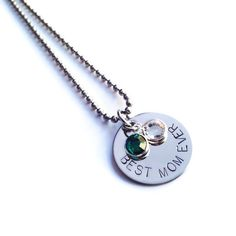 Best Mom Ever Personalized Birthstone Necklace handmade by @justByou and available for purchase here, starting price $16: https://www.etsy.com/listing/230578389