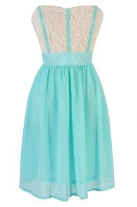 Fabric Piping Lace and Chiffon Strapless Dress in Mint