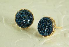 Blue druzy gold filled post earrings, Stud gem stone earrings Sparkly blue…