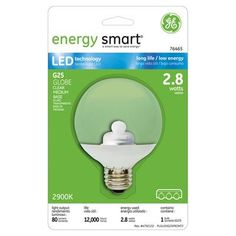 GE Energy Smart 10W Replacement (2.8W) Globe G25 LED Bulb (Warm, Clear) $18.95