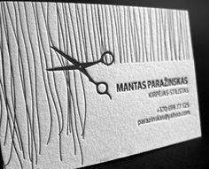 Letterpress Business Card for Hair Stylist Mantas Paražinskas, designed and printed by Elegante Press, Lithuania.