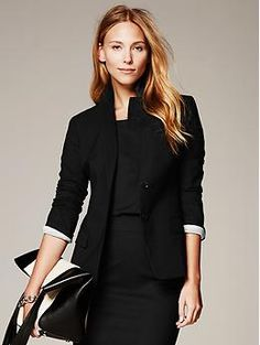 Black Lightweight Wool Two-Button Suit Blazer - Blazers