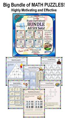These math puzzles aimed at grades 3-5 are highly motivating and fun but also review and reinforce key math concepts.  Great for individuals, groups, and centers.  The puzzles focus on problem-solving using adding, subtracting, multiplying, dividing.  Full answer keys are included.  Save 25% with the bundle.  Products available individually as well.  178 pages.  $
