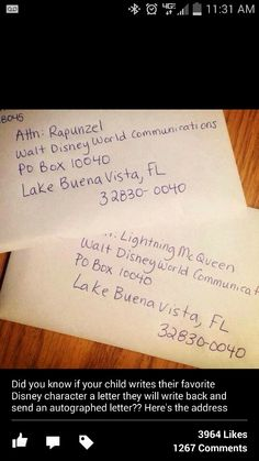 Write a Disney Character address