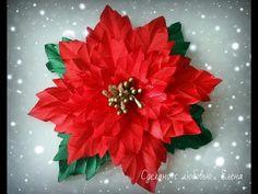 Flower Kanzashi Master Class hand made DIY Tutorial Пуансеттия или рождественская звезда - YouTube