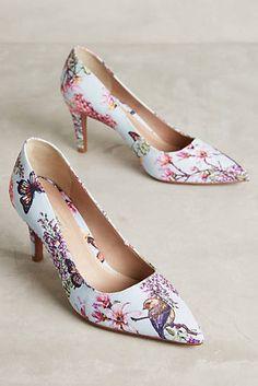 4cdda2e07b40 Raphaella Booz Botanical Heels Floral Heels, Floral Print Shoes, Printed  Shoes, Wedge Boots