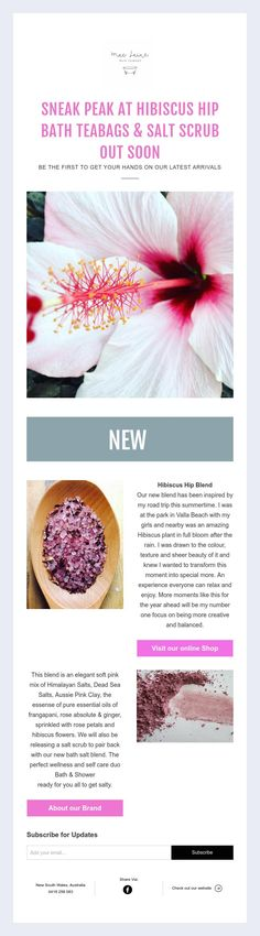 SNEAK PEAK AT HIBISCUS HIP  BATH TEABAGS & SALT SCRUB  OUT SOON  BE THE FIRST TO GET YOUR HANDS ON OUR LATEST ARRIVALS