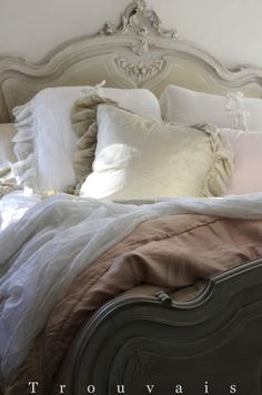 Painted French Bed with Pretty Linens at Trouvais. Bella Notte