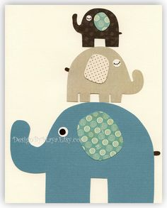 Baby boy room Nursery print Baby elephant...Large Medium Small... $17.00, via Etsy. http://www.mimoinfantil.com.br/