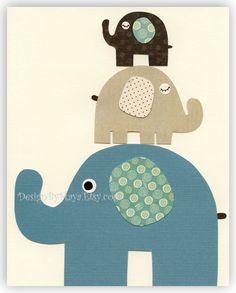 Baby boy room Nursery print Baby elephant...Large Medium Small... $17.00, via Etsy. http://www.mimoinfantil.com.br/