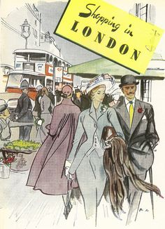 Shopping in London (sigh) brochure cover, c1950 - illustrated by Francis Marshall