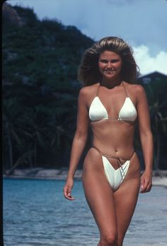 1980 Sports Illustrated Swimsuit Photographed by John G. Zimmerman. Christie Brinkley wearing cover swimsuit. (This photo was not in the original issue)