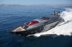 The Koji by Leopard Yachts is a dark sleep boat featuring a lavish and warm interior with the character of a secret agent on a top secret mission.