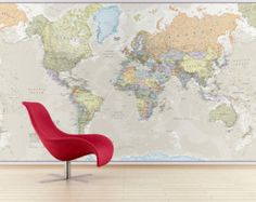 Large Vinyl wall World map decal  Removable by ONWALLstudio