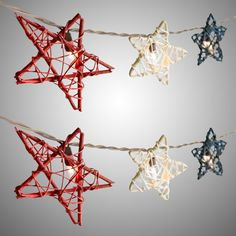 Star light, star bright. Our red, white and blue mini rattan stars are ideal for patriotic decoration or all-American sparkle anywhere you please.