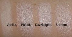 Four of the best MAC highlight colours - Vanilla, Phloof (my favorite), Dazzlelight and Shroom #mac #eyeshadow #highlight