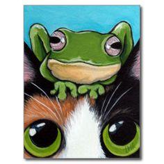 Niedliche Frosch-und Schildpatt-Katzen-Postkarte Postkarten