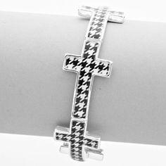 Houndstooth Roll Tide Cross Bracelet www.streetsoforleans.com