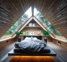 Cabin bedroom by Vertex Design #GentlemanModern #Architecture #design #interiordesign #cabin #Design #cabinlife #Nature #bedroom #beautiful…