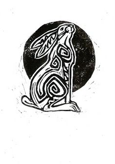 REVELLE ART - LINO PRINTS: MOONGAZING HARE