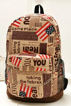 USA Flag Paper Pattern Backpack