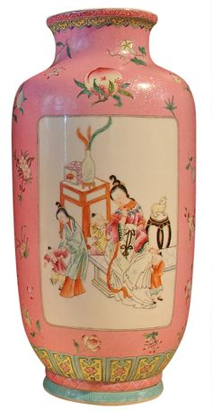 1stdibs - A Pair of Chinese Famille Rose Sgraffito Rouleau Vases