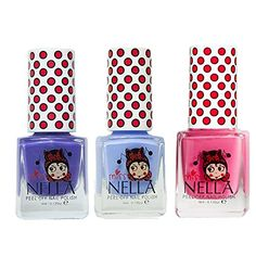 Miss Nella Pink A Boo Blue Bell Sweet Lavender Special Glitter Kids Nail Polish with Peeloff Water Based Formula  Pack of 3 * Find out more about the great product at the image link.