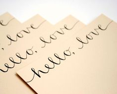 Hello Love Stationery Set, Handwritten Cards, Modern Calligraphy, Tan, Beige, Khaki, Neutral, Set of 4 Flat Notecards. $10.00, via Etsy.