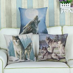 45cm X 45cm Wild Wolf Animals Theme Cushion Covers Pillows Shell Home Car Decor