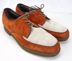 ab9e1b0e90cd Vintage Hush Puppies Mens 2-Tone Suede Loafers (9) Rust Red Spectator Shoes