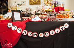 Charm City Favor Table. Great Baltimore Wedding Idea!